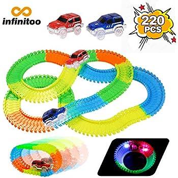 Infinitoo Tracks Set2 Light 220 Glow Pcs Magic Neon Parts Racer 45A3LRjq