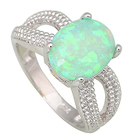 New Statement Party Jewelry Rings for women Green Fire Opal