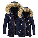 BaZhaHei 1PC Herren Mantel Unisex Frauen Männer Outdoor Fell Wolle Fleece Warme Winter Lange Kapuze Mantel Jacke Wärmejacke Jackenständer Zipper Warm Gesteppt Outwear Mantel