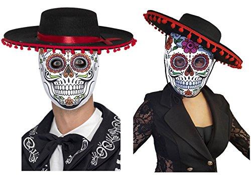 DAY OF THE DEAD SENOR/SENORITA MEXICAN BLACK RED HAT + SUGAR SKULL WHITE MASK