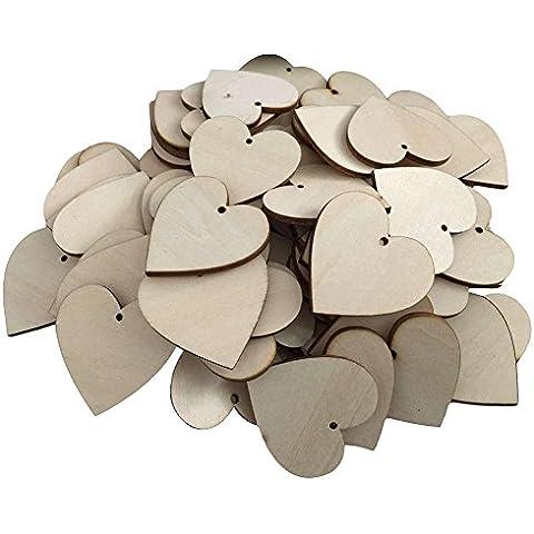 25pcs de madera MDF Corazón formas Craft en blanco boda con texto en inglés y tarjetas 3mm de grosor, Altura 100 cm