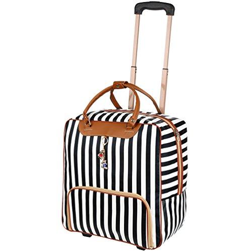 Vbiger Sac de voyage avec des roues pour hommes femmes Sac de voyage avec des roues étanche sac en toile 20 pouces PU sac en cuir avec des rayures noires et blanches