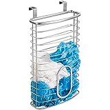 mDesign Portabolsas colgante 'Axis' para bolsas de residuos - Práctico organizador de armario en acero plateado - Accesorio para cocina fácil de colocar en la puerta del armario sin herramientas