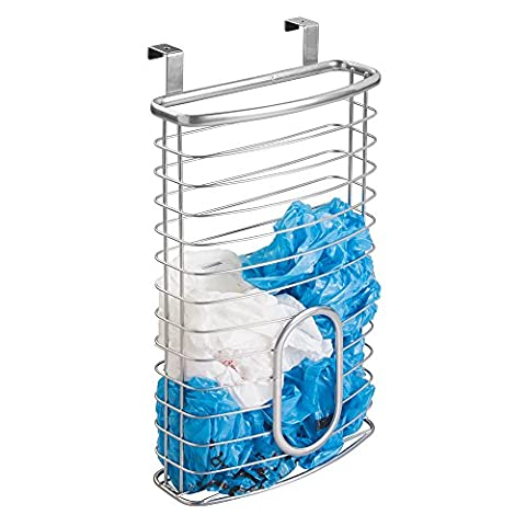 mDesign Storage Case 'Axis' for Plastic and Garbage Bags - Practical Shelf Basket Made of Steel - Easy to Mount Cabinet Basket for Hanging Over the Door -