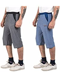 VD Sales, Combo Pack Of Black & Blue Striped Three Quarter, 3/4 , Bermudas For Casual Wear