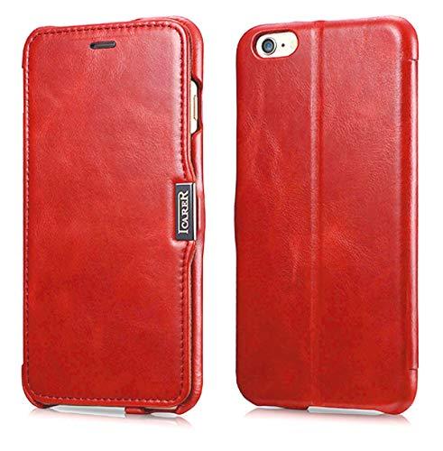 Luxus Tasche für Apple iPhone 6S Plus und iPhone 6 Plus (5.5 Zoll) / Case Außenseite aus Echt-Leder / Innenseite aus Textil / Schutz-Hülle seitlich aufklappbar / ultra-slim Cover / Hülle mit Standfunktion / Vintage Look / Farbe: Rot - Plus Telefonieren 6 Iphone