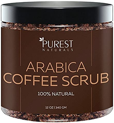 Purest Naturals Organic Arabica Coffee Scrub 250g - The Most Powerful Remedy for Varicose Veins, Cellulite, Stretch Marks, Eczema & Acne - Reduce Puffiness & Anti-Swelling