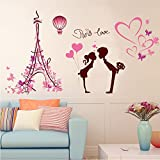 Liebe Wandaufkleber, Liebe In Paris/Radfahren Liebe, Wasserdicht Entfernbare  Wandaufkleber Dekor Wall Sticker Wall Sticker Cartoon Deko Wandtapete ...