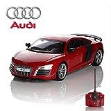 Audi R8 GT, télécommandé/télécommandé Modèle Voiture. 1:24 échelle. En Noir Mate/Blanc et Rouge - Rouge