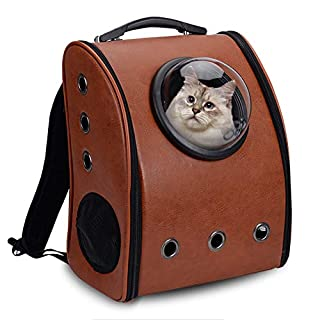 Aleko PC10CF Pet Backpack Astronaut Capsule Bubble Window Luxury Faux Leather with Vents Suitable for Small Pets 16 x 13 x 12 Inches Coffee Brown