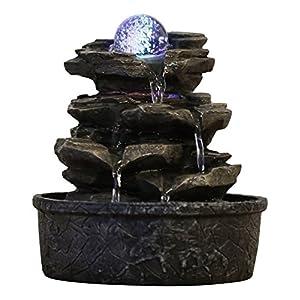 Zen'Light Little Rock Brunnen aus Polyresin, Dunkelbraun, 20x 20x 23cm