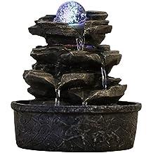 Zen'Light Little-Rock - fuente de polirresina de color marrón oscuro, 20x 20x 23cm, efecto roca