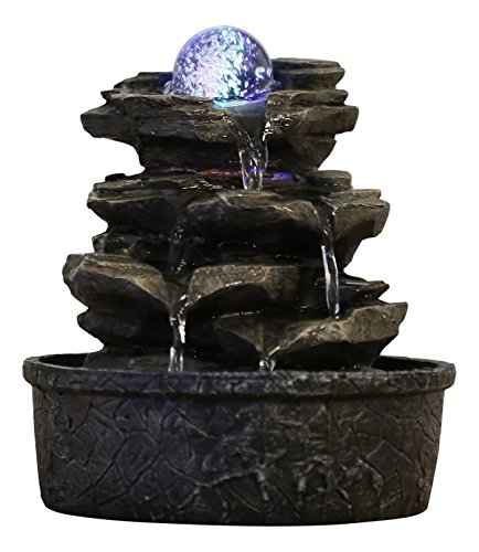 Zen\'Light Little Rock Brunnen aus Polyresin, Dunkelbraun, 20 x 20 x 23 cm