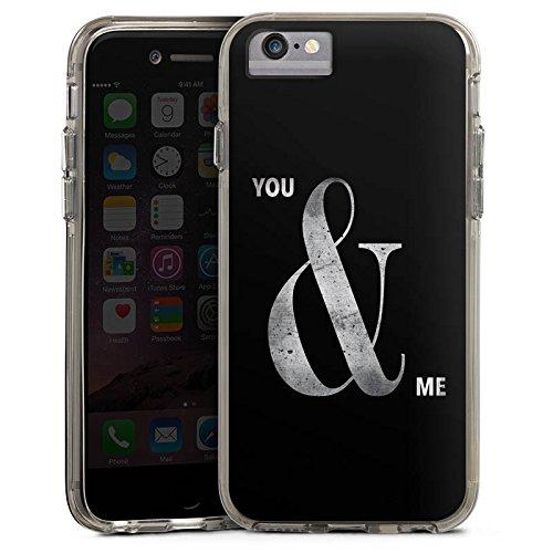 Apple iPhone 8 Bumper Hülle Bumper Case Glitzer Hülle You & Me Friendship Freundschaft Bumper Case transparent grau