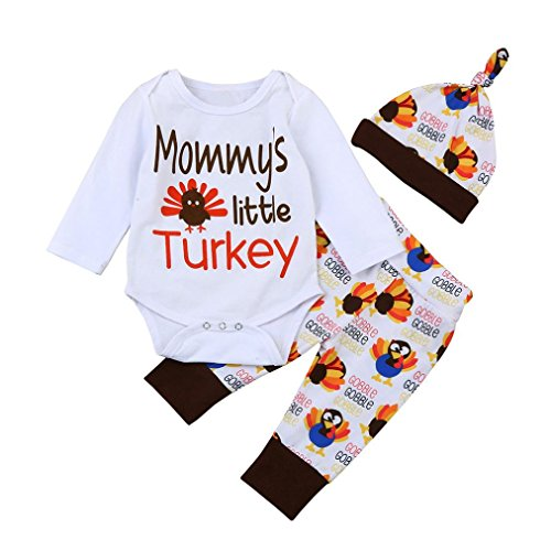 Baby Thanksgiving Outfits Set, Infant 's Letter Thanksgiving Tag Spielanzug Tops Hosen Hüte Simonabo 3 Sets (9M, Weiß)