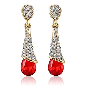 Shining Diva Gold Plated Red Crystal Fancy Party Wear Earrings For Girls and Women