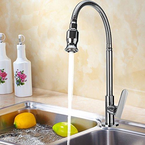 Wasserhahn Küche 360 Grad drehbar Küchenarmatur Kaltwasserhahn mit Flexibel Hals für Bar Badezimmer Wäsche Zimmer Garten - 3