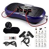 GENKI Vibrationsplatte Vibrationsgerät, Profi 3D Vibrationstrainer, inkl. Trainingsbänder Übungsposter Fernbedienung-150kg, lila