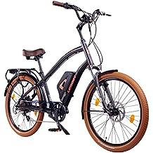 Leisger® CD5 E-Bike Cruiser,36V 14Ah Panasonic Zellen Akku,matt schwarz/orange