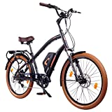 Leisger® CD5 36V, E-Bike Cruiser, 14Ah 504Wh Panasonic Zellen Akku, matt schwarz / orange