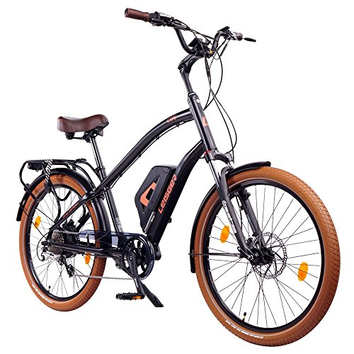 Leisger® CD5 36V, E-Bike Cruiser, 14Ah 504Wh Panasonic Zellen Akku, matt schwarz / orange