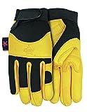 Midwest Qualität Handschuhe Professional Bull Rider Premium Ziegenfell Leder Arbeit Handschuh (3Pack), groß, Tan/Schwarz