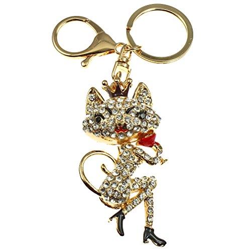 Liebenswürdig, Kristall Diamantbesetzter 3D Vergoldet Lady Cat Handtasche Charme oder Schlüssel Ring Kostüm (Kostüme Womens Cat Zubehör)