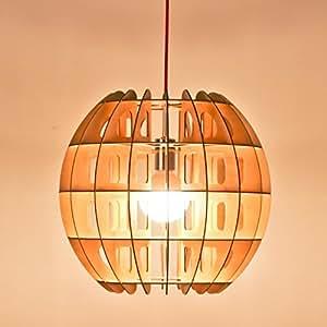 Iwood- creative lustre en bois salon Lustre à LED chambre forme moderne d'éclairage Le restaurant minimaliste Lustre lanterne