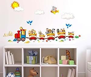 Adesivi murali bambini trenino con animaletti viaggiatori zoo decorazione parete adesivi per - Adesivi per muro cameretta ...