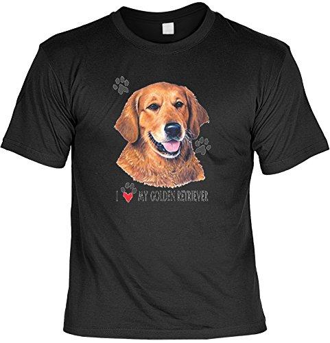 cooles Fun T-Shirt für Hundefreunde mit Motiv, I love my Golden Retriever, für Sie und Ihn Farbe schwarz Schwarz