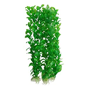 32cm Green Oval Leaf Plastic Plant Aquarium Decoration 3 Pcs by sourcingmap