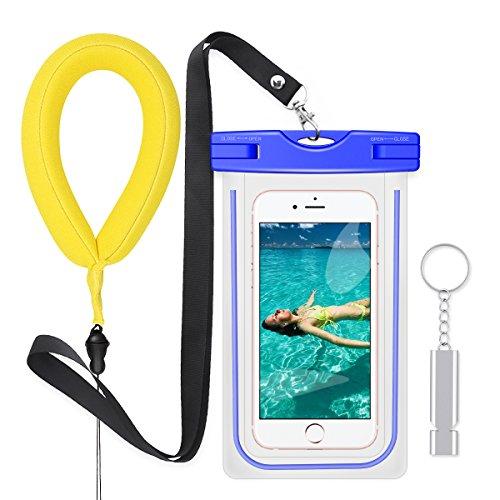 PolySky Wasserdichte Taschen Beutel mit Lanyard Pfeife Kamera Floating Handschlaufe für iPhone 6S Plus 5 SE Samsung Galxy S7 S8 A5 A3 J5 J7 Huawei Moto G5 G4 Wasserdichte hülle für Strand Wassersport (Blau)