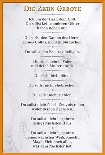 empireposter Die 10 Gebote - Weiß - Inspirations Poster Druck - Größe 61x91,5 cm + Wechselrahmen, Shinsuke® Maxi Kunststoff Orange, Acryl-Scheibe