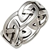 Mens 10mm Solid Silver Celtic Eternal Knot Ring. Gift Boxed. Celtic Jewellery