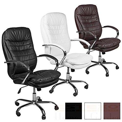 ESTEXO® Bürostuhl Drehstuhl Chefsessel schwarz weiß braun Schreibtisch Stuhl (Weiß) (Polsterung Stoff Schwarz Und Weiß)