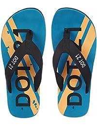 DOT21 Men's Printed Thong- Style Flip- Flops | Color - Blue & Black| Casual & Daily Wear Flip Flops