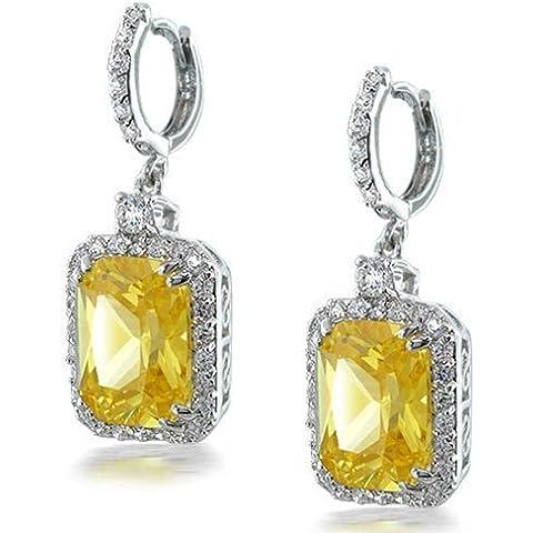 Bling Jewelry Giallo citrino taglio smeraldo CZ orecchini di modo