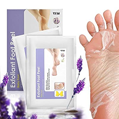 Exfoliating Foot Mask , LuckyFine, Mild, Soften the Cuticle, Remove the Foot Calluses,Lavender Peel Second Day Completely within 4-7 Days,Two Pairs