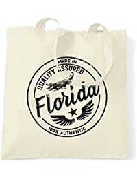 Made in Florida Miami Orlando Disney World Kennedy Distressed Miami Everglades Daytona Beach Tote Carrier Shopping Bag Cool Funny Gift Present