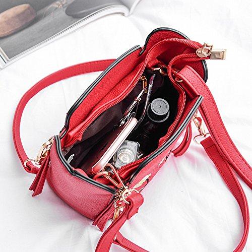 Handtaschen Personalisierte Stickerei Blumen Handtasche Mode Eimer Kleinen Quadratischen Tasche Schulter Diagonalen Paket Rot