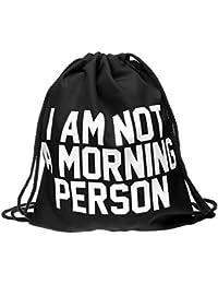 Sac à dos à cordon de sport Gym très pratique à ouvrir et fermer idéal pour vos activités sportives pour fille garçon femme homme adulte enfant ados, choisir:RU-27 noir Morning Person