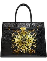 Luxury Shopper Handtasche L mit Reißverschlussfach Schwarz Harald Glööckler