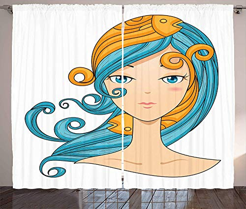 MLNHY Zodiac Pisces Curtains, Pisces Girl with Blue Hair and Warm Colored Fishes on Her Head Cartoon, Living Room Bedroom Window Drapes 2 Panel Set, Orange Blue Peach,110