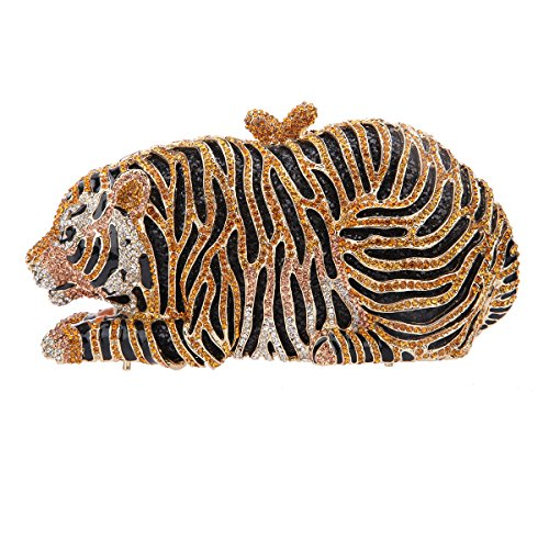 Bonjanvye Big Tiger Clutch Purse Bling Studded Glitter Clutch Evening Bag Rose Gold gold