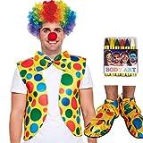 unbranded Clown 6er Set - Weste + Perücke + Schuhe + Schleife + Nase + Schminken (mehrfarbig)