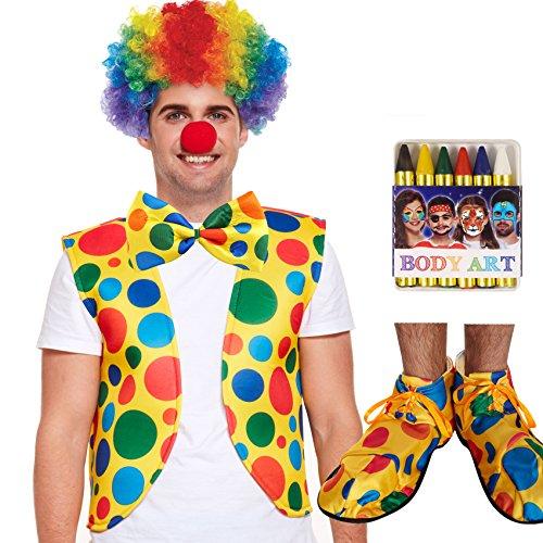 unbranded Clown 6er Set - Weste + Perücke -