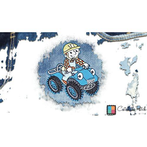 Aufnäher/Bügelbild - Bob der Baumeister Quad Comic Kinder - bunt - 7,5x6,3cm - Patch Aufbügler Applikationen zum aufbügeln Applikation Patches Flicken Bob Patch