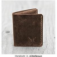 kleine & kompakte dunkel braune mini Männer Geldbörse MONO aus bestem Leder, handgenäht & metallfrei - heritage - HAEUTE made in Germany