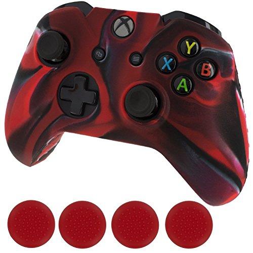 Generic Silikon Schutzhülle Haut & Grip Stick Caps für Microsoft Xbox One Controller, Schwarz und Rot