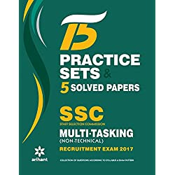 15 Practice Sets & 5 Solved Papers SSC Multi-tasking (Non-Technical) Group 'C' Recruitment Exam 2017